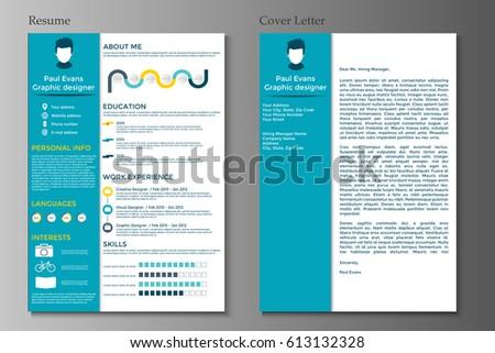 resume cover letter collection modern cv stock vector 613132328