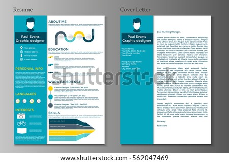 Resume And Cover Letter In Flat Style Design On Grey Background. CV Set  With Infographics