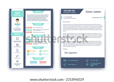 Resume cover letter cv vector design stock vector hd royalty free resume and cover letter or cv vector design template on two pages isolated on white spiritdancerdesigns Choice Image