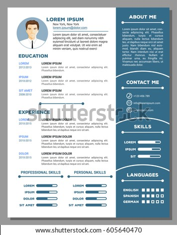 resume cv vector template nice creativeのベクター画像素材 605640470