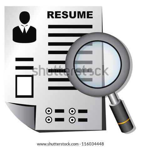 resume and magnifying glass, human resource, recruitment - stock vector