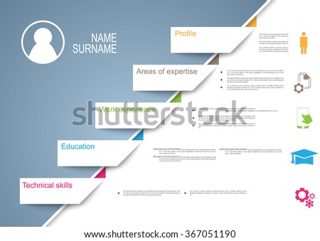 resume cv template design with tabs ribbons tags