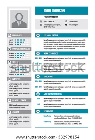 Resume - CV - vector concept layout in A4 format. Business resume - vector template. Modern resume template in gray and blue colors.  - stock vector