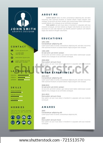 resume design template minimalist cv business stock vector 721513570
