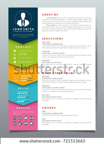 resume design template minimalist cv businessのベクター画像素材