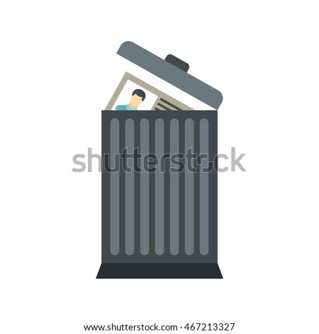Resume in the trash can icon in flat style on a white background