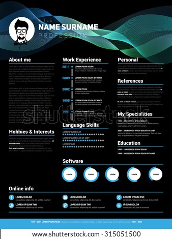 Resume template, Minimalist cv, Vector design, dark style - stock vector