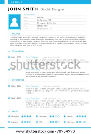 Resume template. Vector