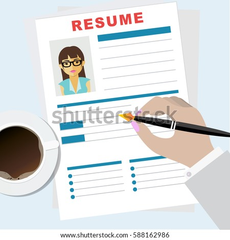 Resume Writing Concept. Man Writing Business Resume With A Pen. Assessment  Of The Applicant  Resume Writing Business