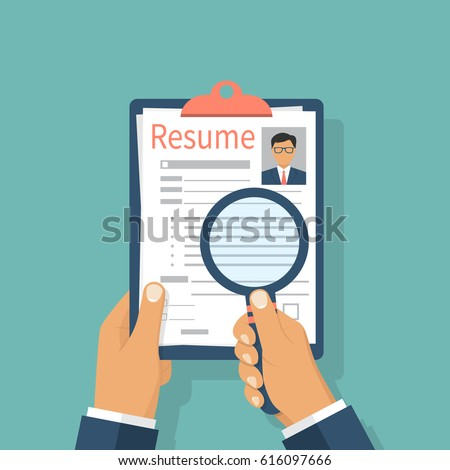 resumes hand cv application selecting staff stock vector 616097666