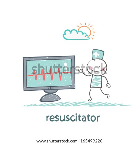 resuscitation is a monitor shows the heartbeat - stock vector