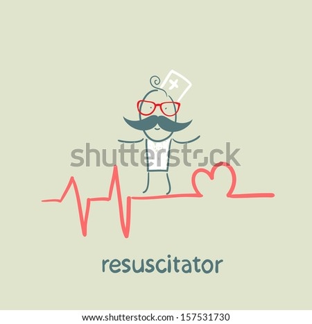 resuscitation is on the line showing the beating of the heart - stock vector