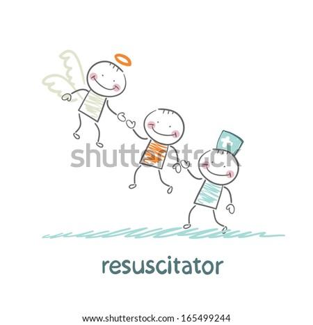 resuscitator keeps patients picking up Angel - stock vector