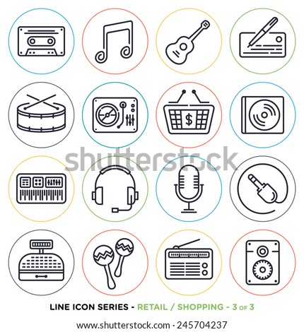 Retail and shopping line icons set.
