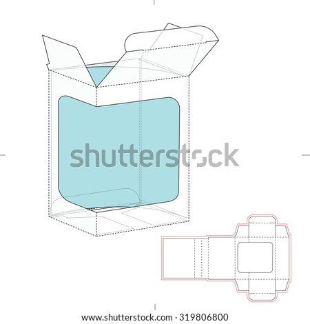 Retail Box with Product Display Window Cut and Die Line template - stock vector