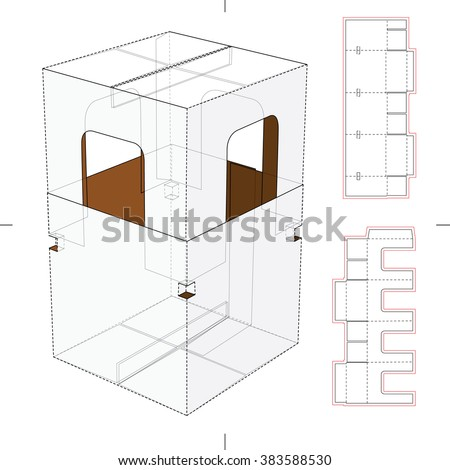 Retail Package with Die Cut Window and Die Cut Blueprint - stock vector