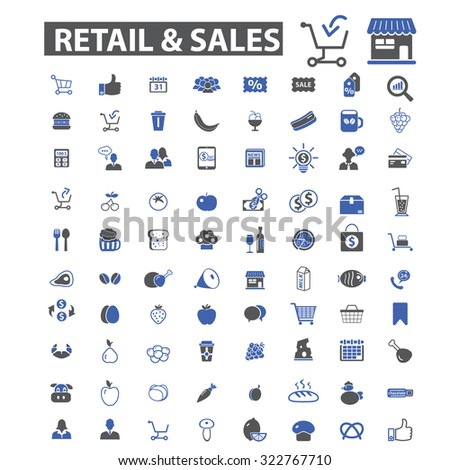 retail, sales, shopping icons - stock vector
