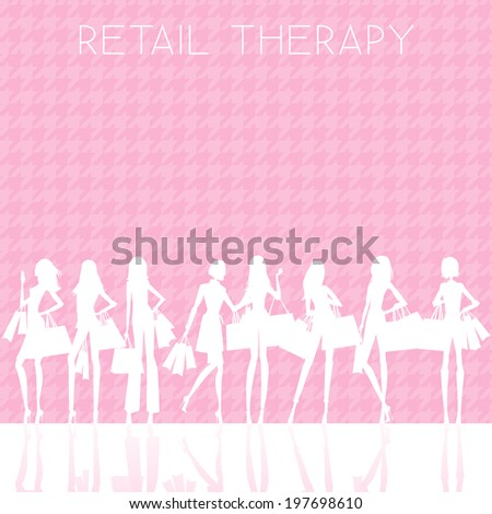 Retail Therapy - Silhouettes of Women Shopping - vector eps10 - stock vector