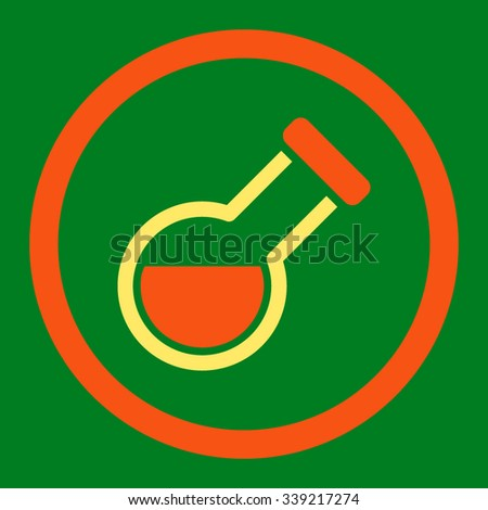Retort vector icon. Style is bicolor flat rounded symbol, orange and yellow colors, rounded angles, green background. - stock vector