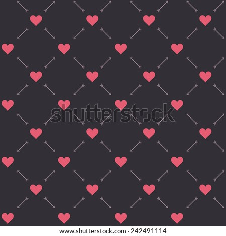 Retro abstract heart seamless pattern. Vector illustration for romantic nostalgia design. Can be used for wallpaper, cover fills, web page background, surface textures. Red hearts.Vintage colors. - stock vector