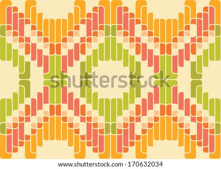 Retro abstract seamless pattern. Green and orange