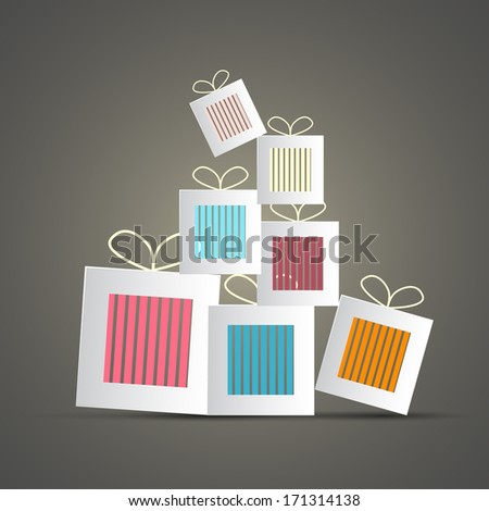 Retro Abstract Vector Paper Gift Boxes - stock vector
