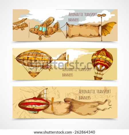 Retro aeronautic transport horizontal hand drawn banners set isolated vector illustration - stock vector