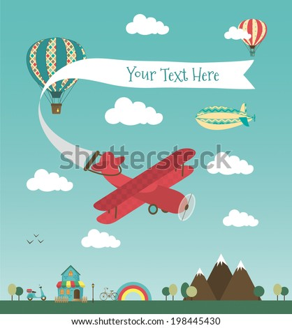 Retro Air Plane Banner Design with Vintage Airships like Aerostat and Air Balloon. Vector Illustration. Mini Town with Cute House and Bikes - stock vector