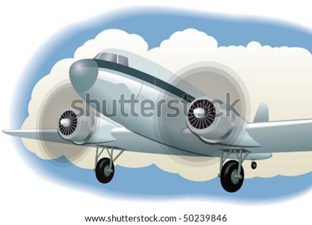 Retro airplane - stock vector
