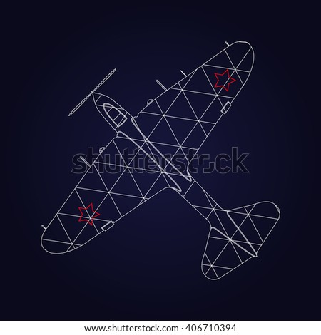 Retro Airplane design on dark blue background. Icon vintage airplane.  - stock vector