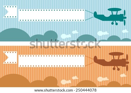 retro airplane silhouette with banner - stock vector