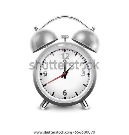 Retro alarm clock in metal housing with two bells  isolated on white background realistic vector illustration