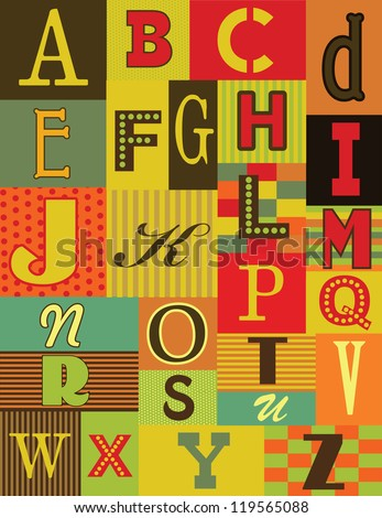 retro alphabet design. vector illustration - stock vector