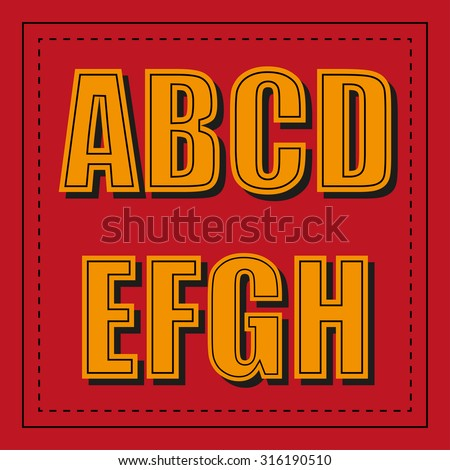 Retro alphabet font from a - h beautifully executed - stock vector