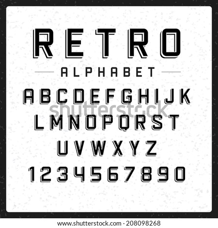 Retro alphabet font. Type letters and numbers Vector design elements.  - stock vector