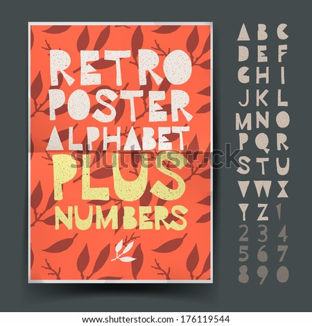 Retro alphabet set for art and craft poster's design, vector illustration.  - stock vector