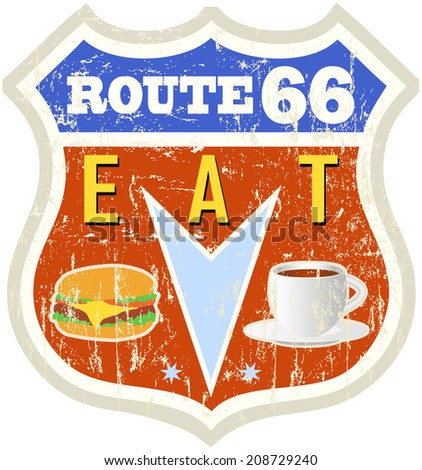 retro american route 66 diner sign, vector eps - stock vector