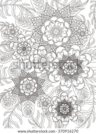 retro and elegant floral coloring page in exquisite line - stock vector