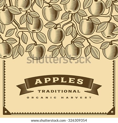 Retro apple harvest card brown. Editable vector illustration with clipping mask. - stock vector