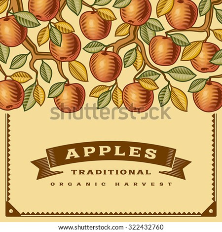 Retro apple harvest card. Editable vector illustration with clipping mask. - stock vector