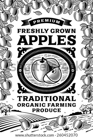 Retro apples poster black and white. Fully editable vector illustration with clipping mask.