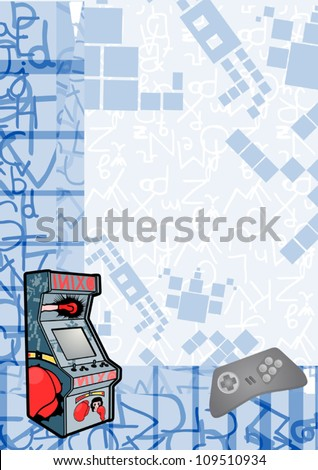 Retro arcade background - stock vector