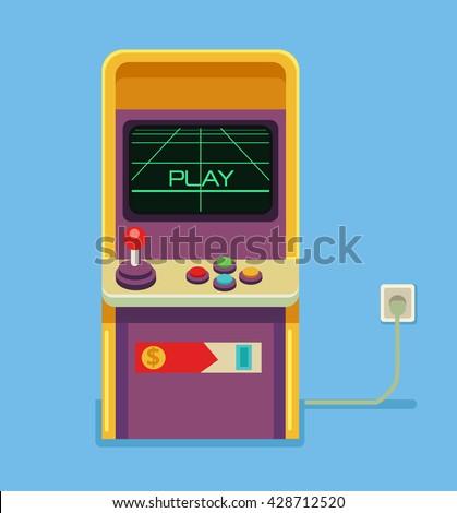 Retro arcade game machine. Vector flat cartoon illustration - stock vector