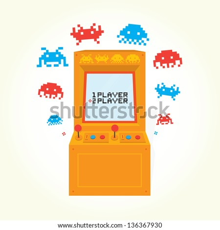 Retro arcade machine isolated vector - stock vector