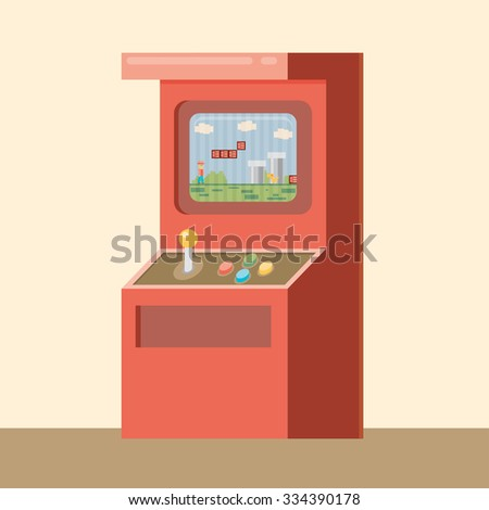 Retro arcade machine with game. Flat style vector illustration. - stock vector