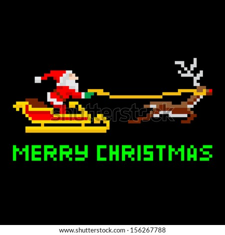 Retro arcade video game style pixel art Christmas Santa Claus in sleigh with Merry Xmas message - stock vector