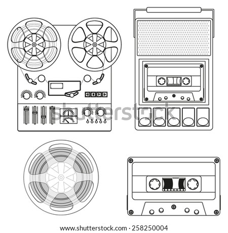 Retro audio set: Retro Cassette Tape player and audio tape recorder. Vector Illustration isolated  on white background. - stock vector