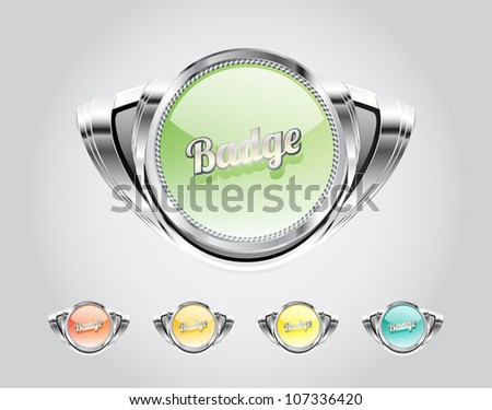 Retro automotive styled metallic glassy badges collection - stock vector