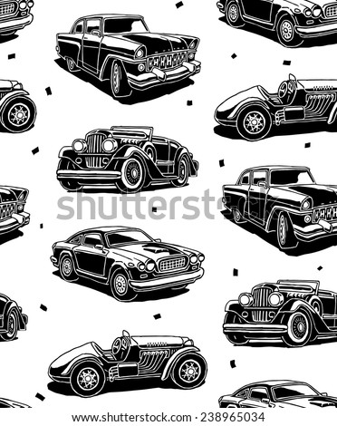Retro autos seamless vector pattern - stock vector