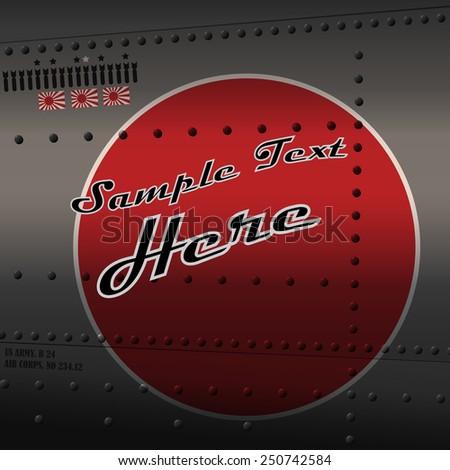 Retro aviation, plane fuselage background - stock vector